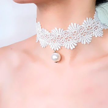 white lace choker pearl charm beaded / wedding bridal necklace // gothic punk chic // fabric jewelry gift for her