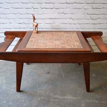 Mid Century Modern Coffee Table With Tile Sliding Top