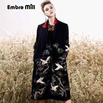 High-end winter trench coats for women vintage Elegant Floral woolen embroidery loose lady red Christmas overcoat female M-XXXL