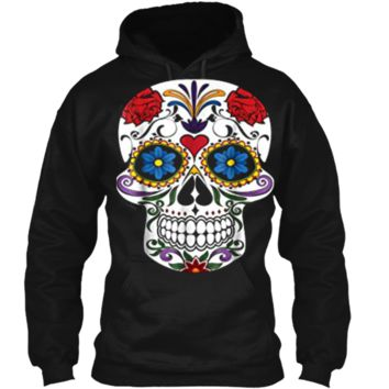 Fashion Sugar Skull Flower Death Day Of The Dead  Pullover Hoodie 8 oz