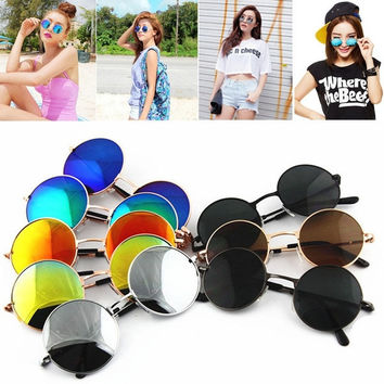 2015 New Vintage Retro Men Women Round Metal Frame Sunglasses Glasses Eyewear = 1946677572