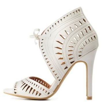 White Laser Cut-Out Lace-Up Heels by Charlotte Russe