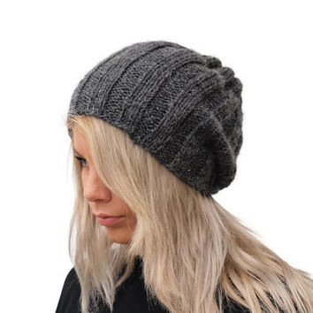 Dark Grey Women Hat / Knit Dark Grey Hat /  Winter Hat / Fashion Hat / knit beanie hat / Unisex knit Hat