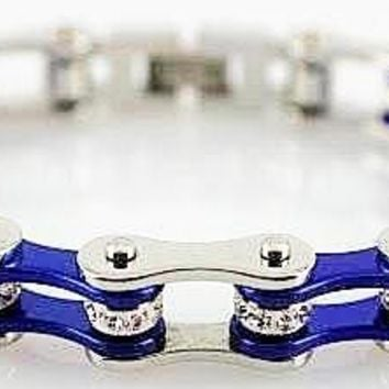 Cobalt Blue and Silver Stainless Steel Chain Bracelet with Rolling Crystals