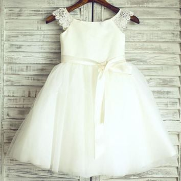 white flower girl dresses lace cap sleeve with sash tulle white/ivory flower girl dresses for weddings