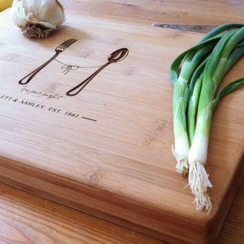 "Personalized Cutting Board Custom Engraved Chopping Block Unique Wedding, Engagement, Anniversary Gift with Names, Initials ""A Perfect Pair"""