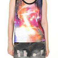 Cosmos Galaxy Universe Space Red Flare Aura Half Tank Top Tee Size S