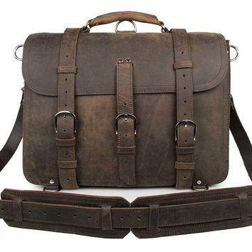 Brown Cow Leather Huge Capacity Men's Briefcase Backpack