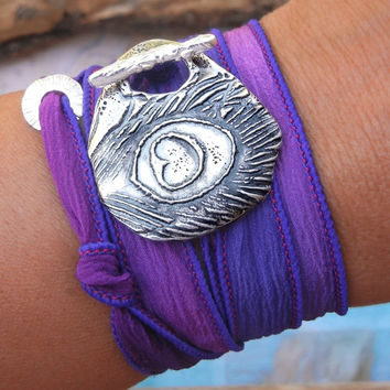 Fall Peacock Feather Silk Wrap Bracelet