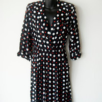 Vintage 70s Pin Up Style Leslie Fay Dress Rayon Hearts and Dots Size 10