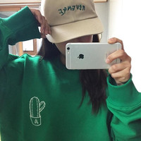 2015 fall new fashion green Cactus digital embroidery hedging cotton female sweatshirt