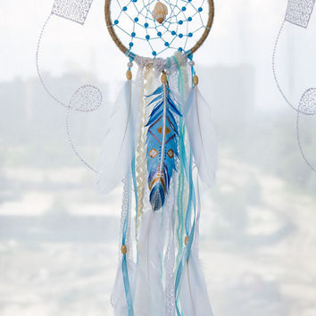Blue Dream Catcher Mini dreamcatchers Art Featers Dreamcatcher White feathers Boho Wall hanging Wall decor Wedding decor Handmade