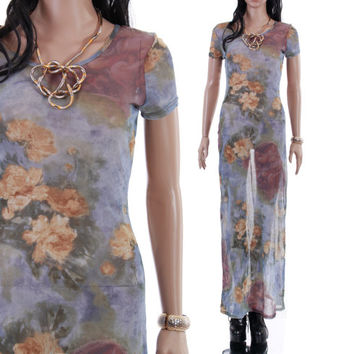 Renaissance Print Sheer Maxi Dress Floral Dusty Blue Boho Chic Grunge 1990's Vintage Long Summer Clothing Womens Size Small