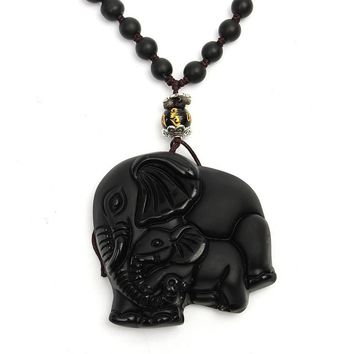 New Chinese Handwork Natural Black Obsidian Carved Good Lucky Elephant Pendant Necklace Gemstone Fengshui Crafts Exquisite Gift