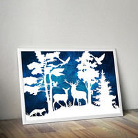 Stag Art, Woodland Nursery, Woodland Animals, Woodland Creatures, Woodland Art, Unique Artwork, Paper Cut Art, Personalized Art