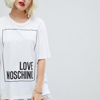 Love Moschino Square Glitter Logo T-Shirt at asos.com