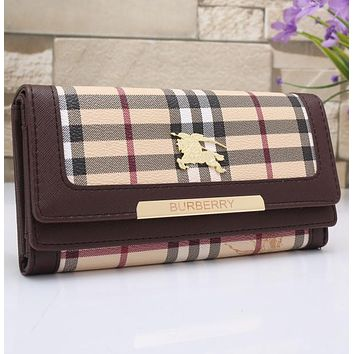 Burberry Women Leather Buckle Wallet Purse