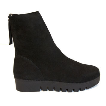 Jeffrey Campbell Fumico - Black Nubuck Back Zip Flat Platform Boot