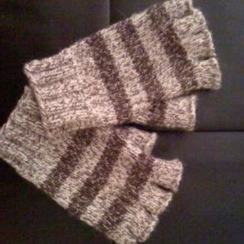 Handknit Mens Fingerless Gloves by bluespecsstudio on Zibbet