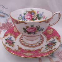 Lady Carlyle Royal Albert Bone China cup and saucer. Ideal for vintage wedding, tea shop, display or use.