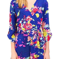 Floral Surplice Front Romper with Sleeve