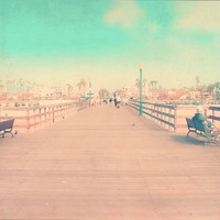"""SALE-Pier Photography, 8x8 Print, Beach Photography, Ocean, Calming, California, Turquoise, Vintage Style, Los Angeles-""""Seal Beach Pier"""""""""""