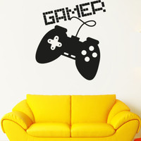 Wall Decal Vinyl Sticker Gamer Player Gaming Time xbox 360 ps3 Game  r1091