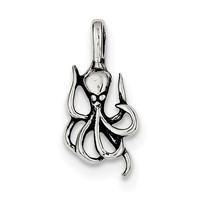 Sterling Silver Antiqued Octopus Charm QC6931
