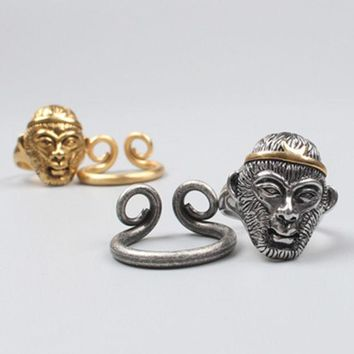 DCCKVQ8 Fashion Ethnic Unisex Ring 'Monkey King: Hero is Back' Sun Wukong Couple Little Finger Ring Open Ring