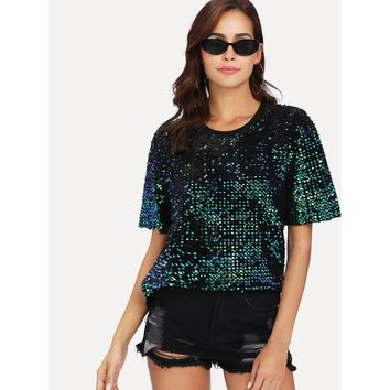 Iridescent Sequin Short Sleeve Top