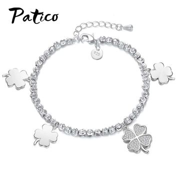 PATICO New Style 925 Stamped Silver Color Bracelet Four Leaf Clover Charm Bracelet & Bangle for Women Wedding Party Jewelry Gift