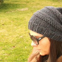 Smoked handmade hat,smoked women hat,winter hat,slouchy beanie,slouchy hat,knit hat,men hat,unisex hat