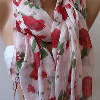 Red  Flowers  - -- Elegance Shawl - Scarf-------soft and light,,,