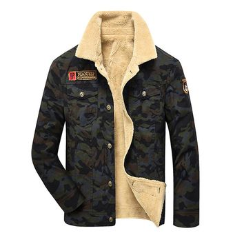 Mens Camouflage Denim Jacket Fur Fleece Jeans Jacket  Army Flight Military Coat