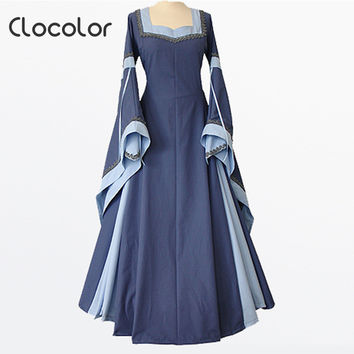 Clocolor medieval dress light blue vintage style gothic dress floor length women cosplay dresses retro long medieval dress gown