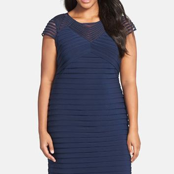 Plus Size Women's Adrianna Papell Corded Yoke Pleat Jersey Sheath Dress,