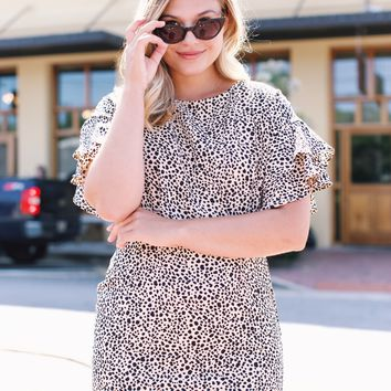 Life Of The Party Leopard Dress, Peach/Taupe