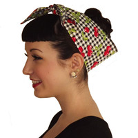 Red Cherry Gingham Head Wrap Scarf
