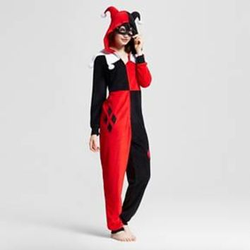 Women's Warner Bros. Harley Quinn Hooded Union Suit Pajamas : Target