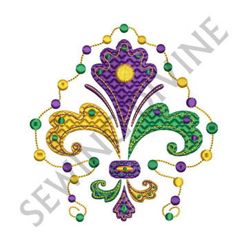MARDI GRAS Fleur de lis & Beads Embroidery Design 3 Sizes 8 Formats Instant Download