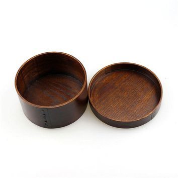 Vintage Round Elegance Advanced Japanese Natural Wooden Lunch Box Bento Case Sushi Boxes For Tableware Supplies Food Container