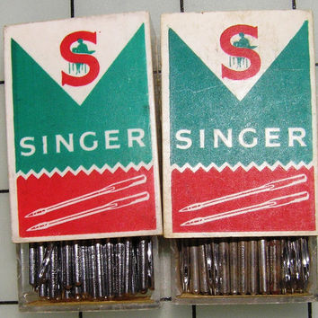 2 Boxes Singer Size 22 Sewing Machine Needles, Vintage 1970s or Earlier, West Germany & Great Britain