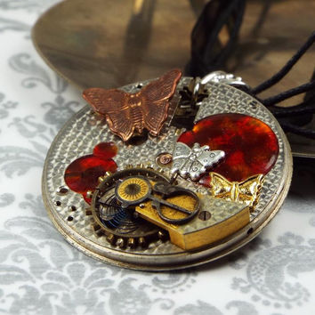 Butterfly Steampunk Necklace with Moving Gears