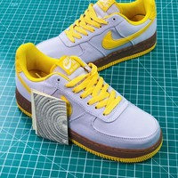 Nike Air Force 1 Canvas Af1 Low Grey Yellow Brown Sneakers Shoes - Best Online Sale
