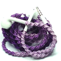 Ombre Purple MyBuds Wrapped Headphones Tangle Free Earbuds Your Choice of Headphones