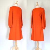 Vintage 60s Mod Orange Sheath Dress