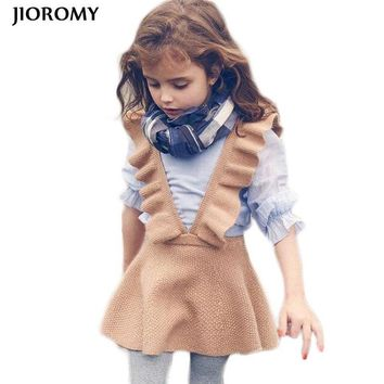 JIOROMY Autumn Baby Girl Dress Fashion Girl Clothing Knit Sweater Kids Dresses for Girls Solid Sleeveless School Uniform Vestido