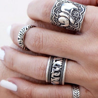Carved Elephant Antique  Ring(4 Pcs) B007632