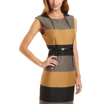 EMMA & MICHELE Gray U Neck Striped Belted Dress