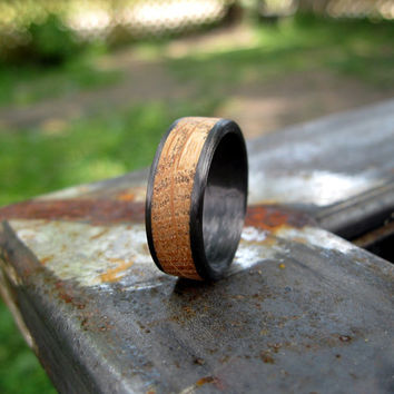 Whisky Barrel Oak and Carbon Fiber Ring